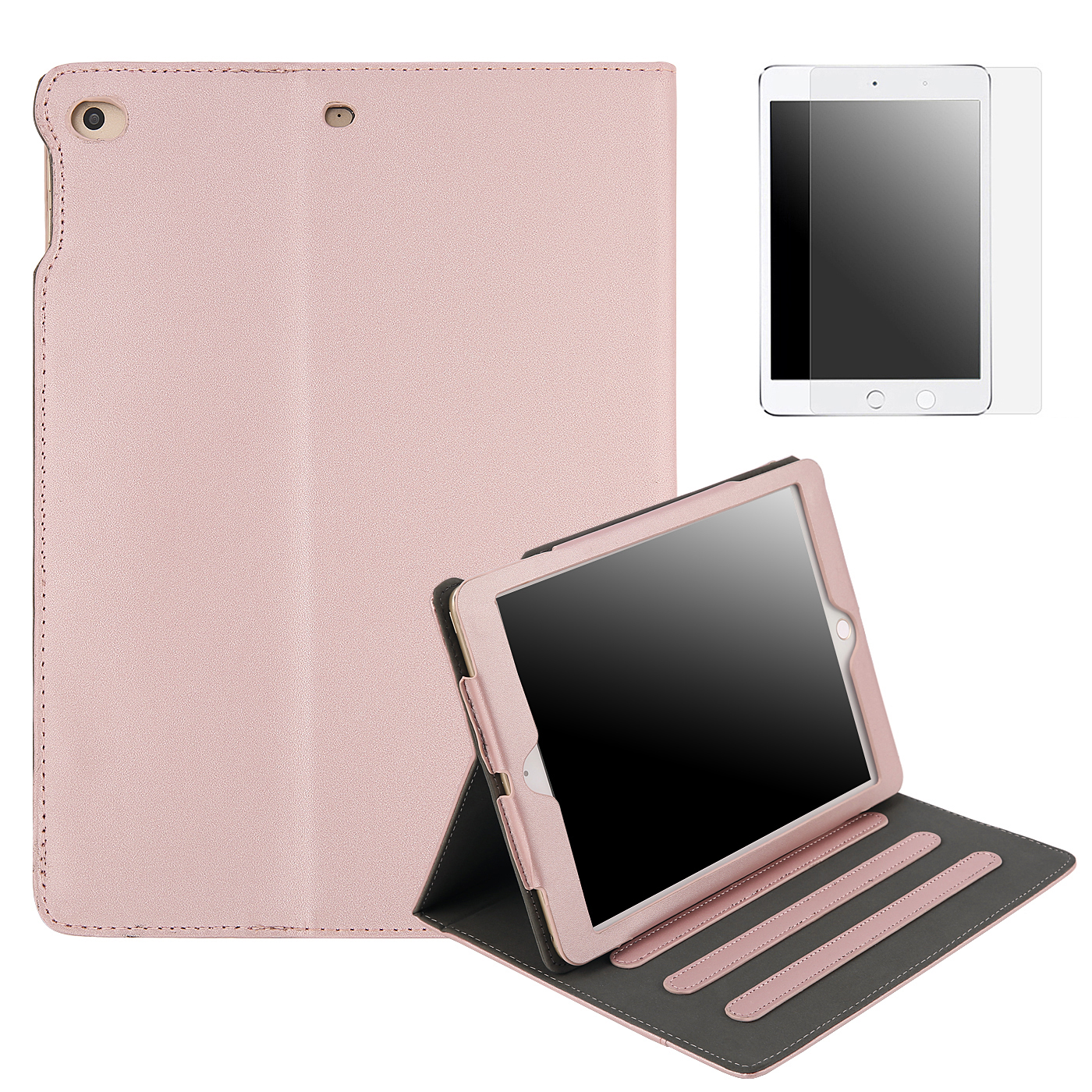HDE 2017 iPad 9.7 Leather Case with Screen Protector - Vintage Folio Cover Case Multi-Angle Stand for New Apple iPad 9.7 Inch (5th Generation iPad, March 2017) - Retro 90s