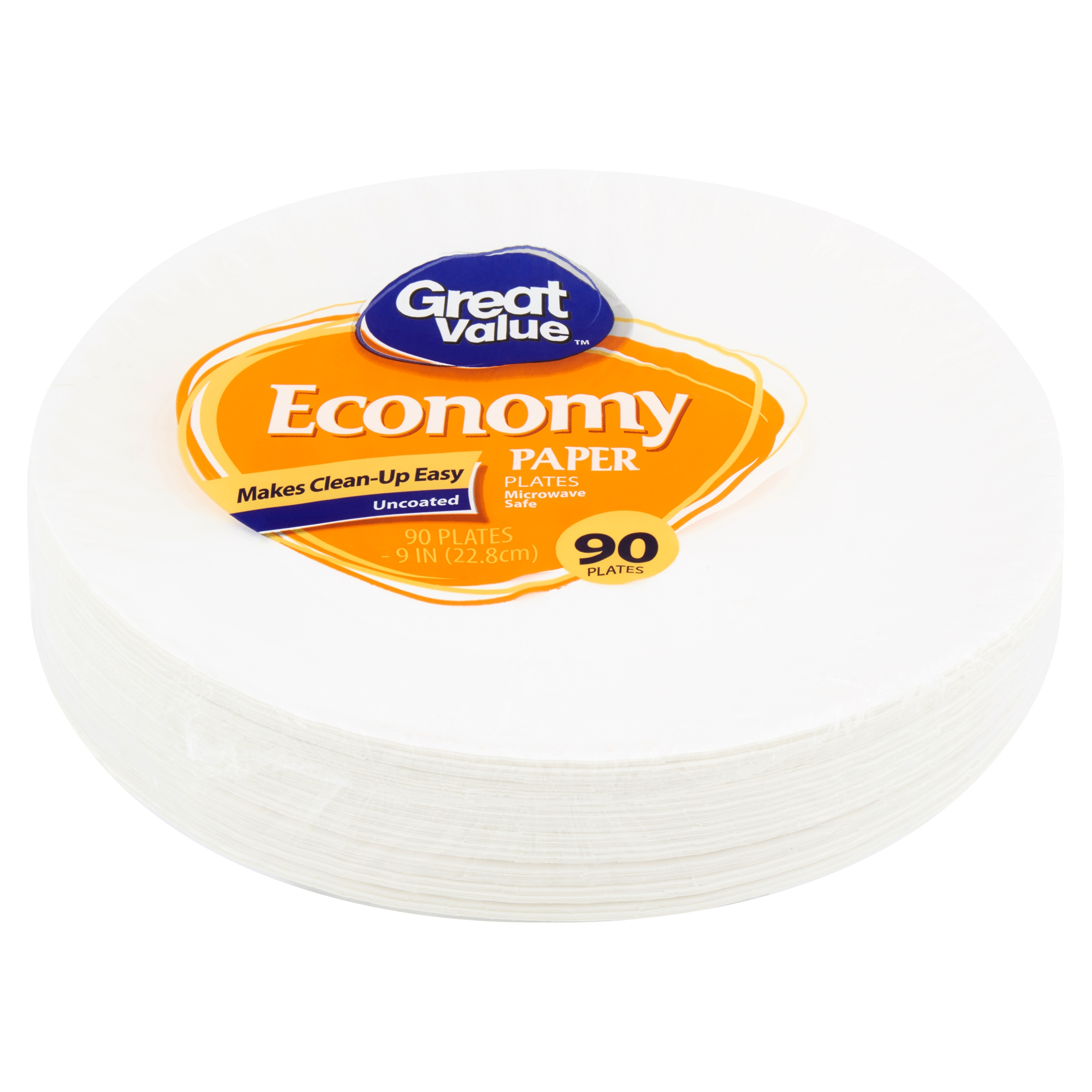 """Great Value Economy Paper Plates, 9"""", 90 Count"""
