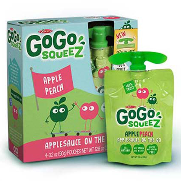 GoGo Squeez Apple Peach Applesauce 3.2 oz Pouches - Box of 12/4-Pack Boxes