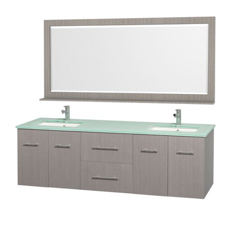 Wyndham Collection Centra 72 inch Double Bathroom Vanity in Gray Oak, Green Glass Countertop, Square Porcelain Undermount Sinks, and 70 inch (72 Inch Double Sink Bathroom Vanity Top Only)
