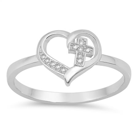 Clear CZ Cross Heart Love Promise Christian Ring ( Sizes 4 5 6 7 8 9 10 ) Sterling Silver Band Rings by Sac Silver (Size - Band Heart Cross