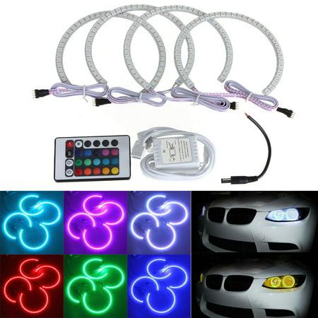 Iuhan 4x 131MM Multi-Color 5050 RGB LED Angel Eyes Halo Rings For BMW E36 E38 E39 E46