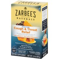 Zarbee's Naturals Cough & Throat Relief Nighttime Drink Mix with Vitamin C, Zinc, & Real Elderberry, Natural Honey Lemon Flavor , 6 Packets