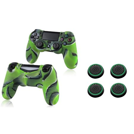 Ps2 Green Skin (Insten Camouflage Navy Green Silicone Skin Case (+ 4x Green Analog Thumbstick Cap) for Sony PlayStation 4 Controller )