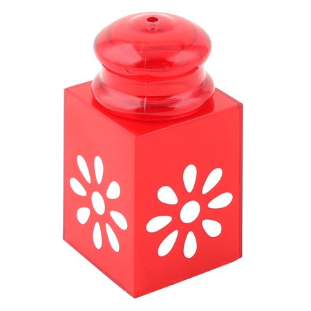 Unique Bargains Home Restaurant Plastic Can Signet Shaped Flower Pattern Storage Box Case Red Toothpick Holder