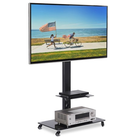 Rfiver Moblile Floor TV Stand Cart with Audio Shelf and Heavy Duty Lockable Caster Wheels, for 37 to 70 inch LCD LED Oled Qled Flat Panel and Curved -