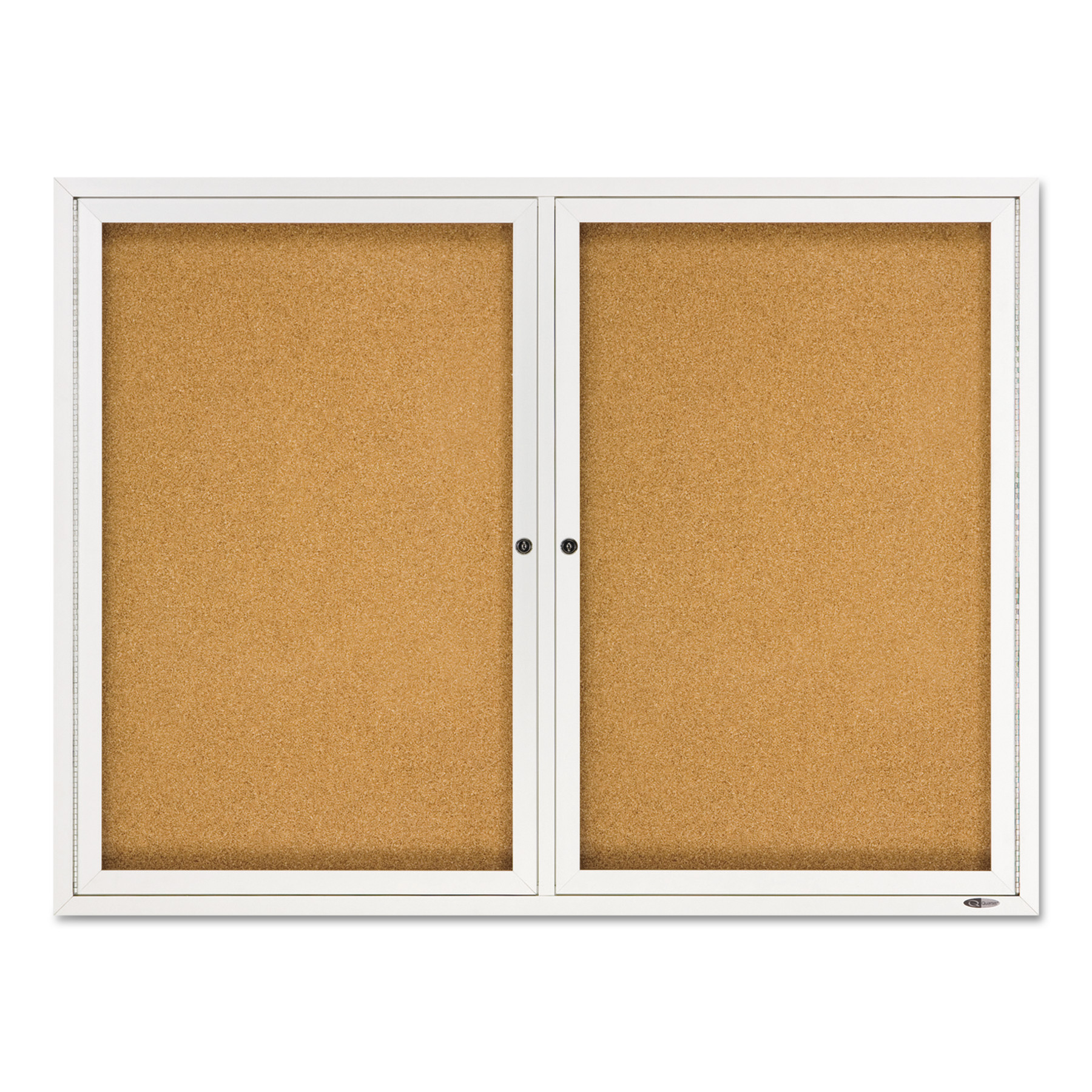 "Quartet Enclosed Natural Cork/Fiberboard Bulletin Board, 48"" x 36"", Silver Aluminum Frame"