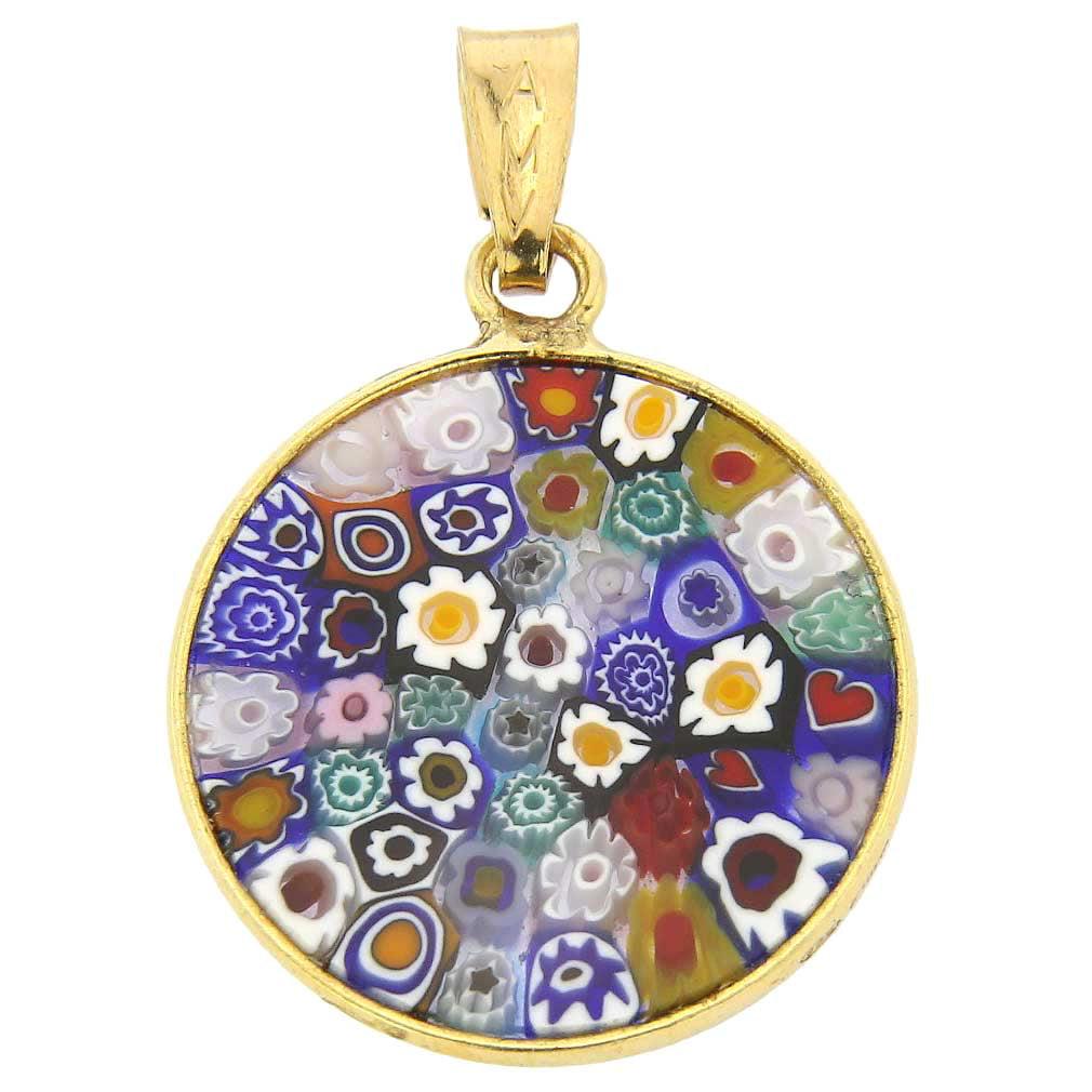 GlassOfVenice Murano Glass Millefiori Pendant in Silver Frame 34