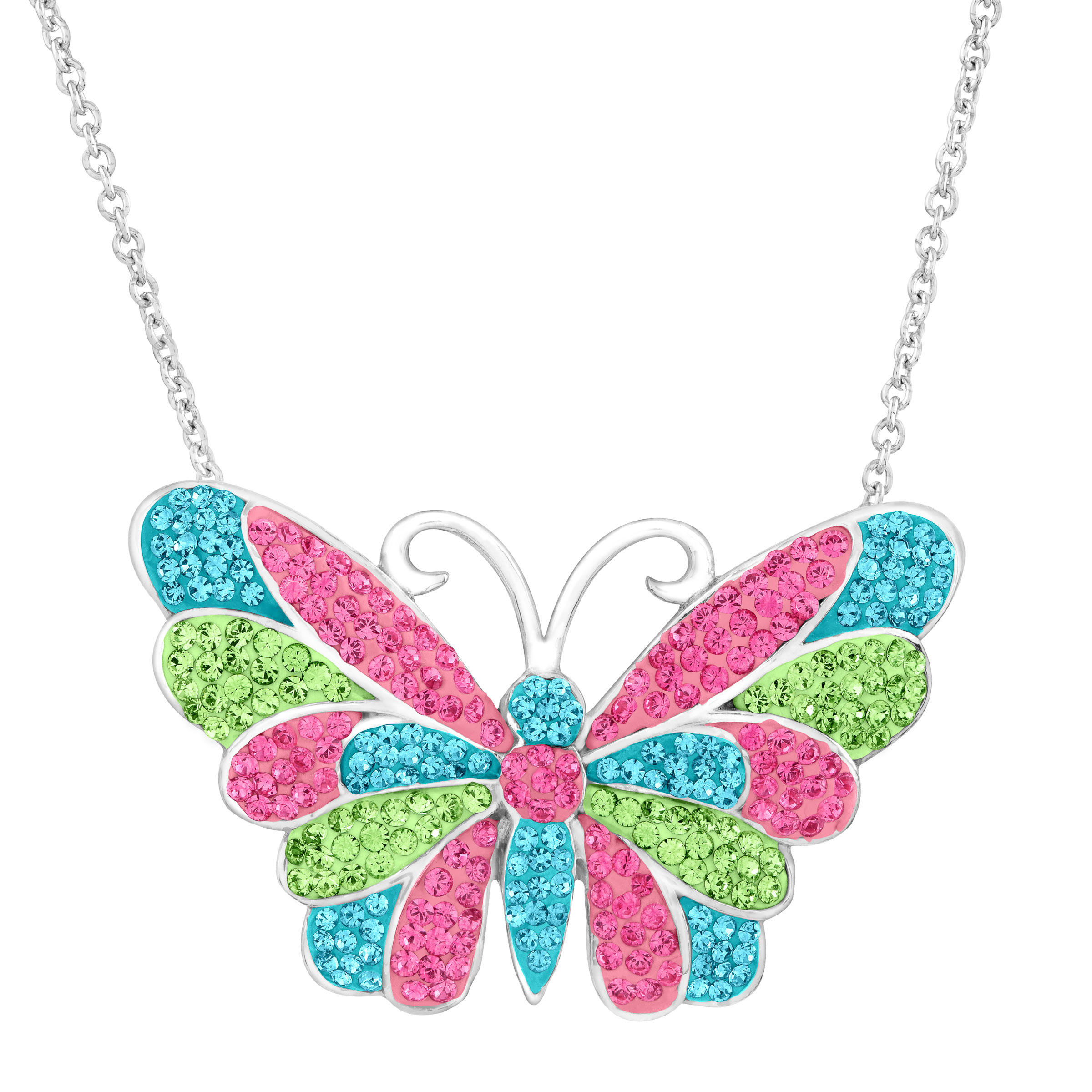 """Luminesse Butterfly Pendant Necklace with Pink, Blue and Green Swarovski Crystals in Sterling Silver, 18"""""""