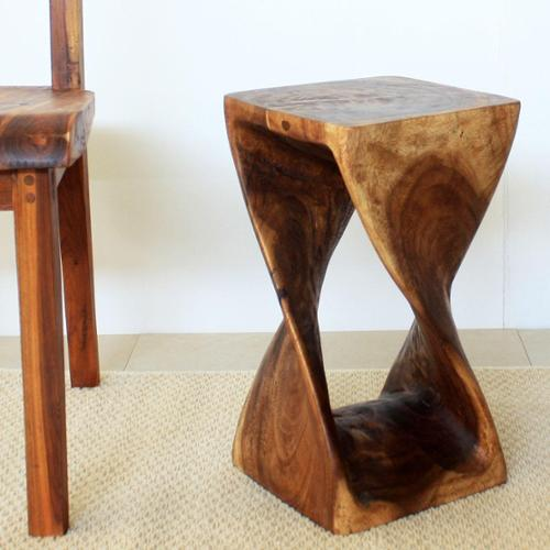 Haussmann 10 Inches Square x 18-inch Monkey Pod Wood Walnut Oil 18-inch Twist Stool (Thailand)