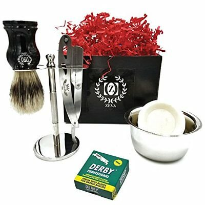 SHAVETTE CUT THROAT STRAIGHT RAZOR BARBER BEST SHAVING SET MEN GIFT 100