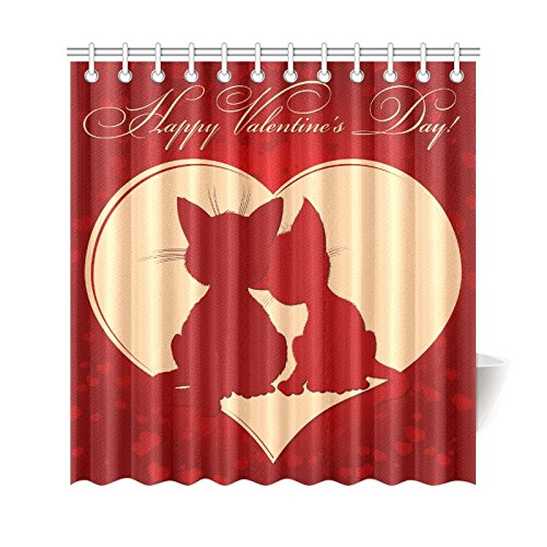 GCKG Funny Cat With Red Love Heart Shower Curtain Valentines Day Kitten Polyester Fabric Bathroom Sets 66x72 Inches