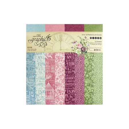Graphic 45 Bloom Paper Pad 12x12 Solid/Pattern
