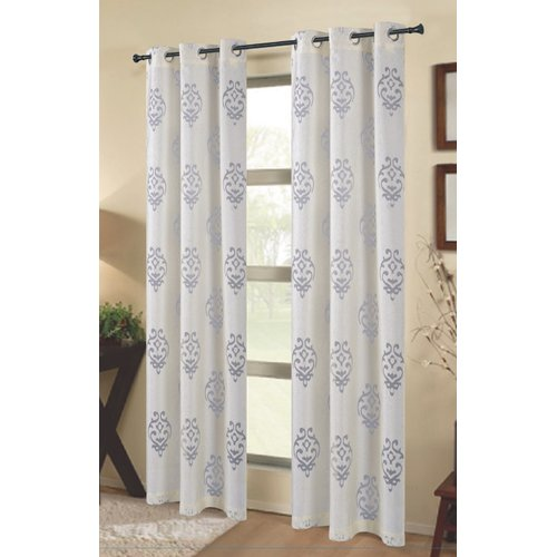 Dainty Home Tulip Damask Semi-Sheer Grommet Curtain panels (Set of 2)