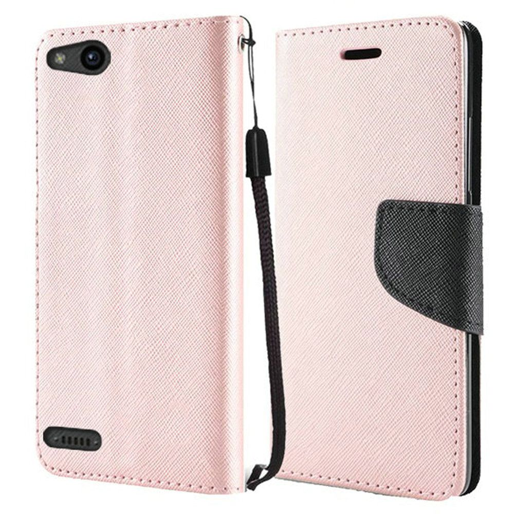 ZTE ZFive G LTE Z557BL Case - Synthetic PU Leather Wallet Carrying Holder Pouch Case [Card Slots | Bill Fold] with Magnetic Flip Closure Cover - [Rose Gold] and Atom Cloth