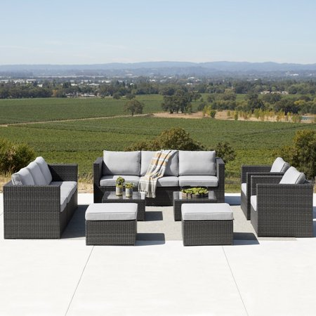 Image of Corvus Trey 12-piece Wicker Patio Sofa Set with Glass Top