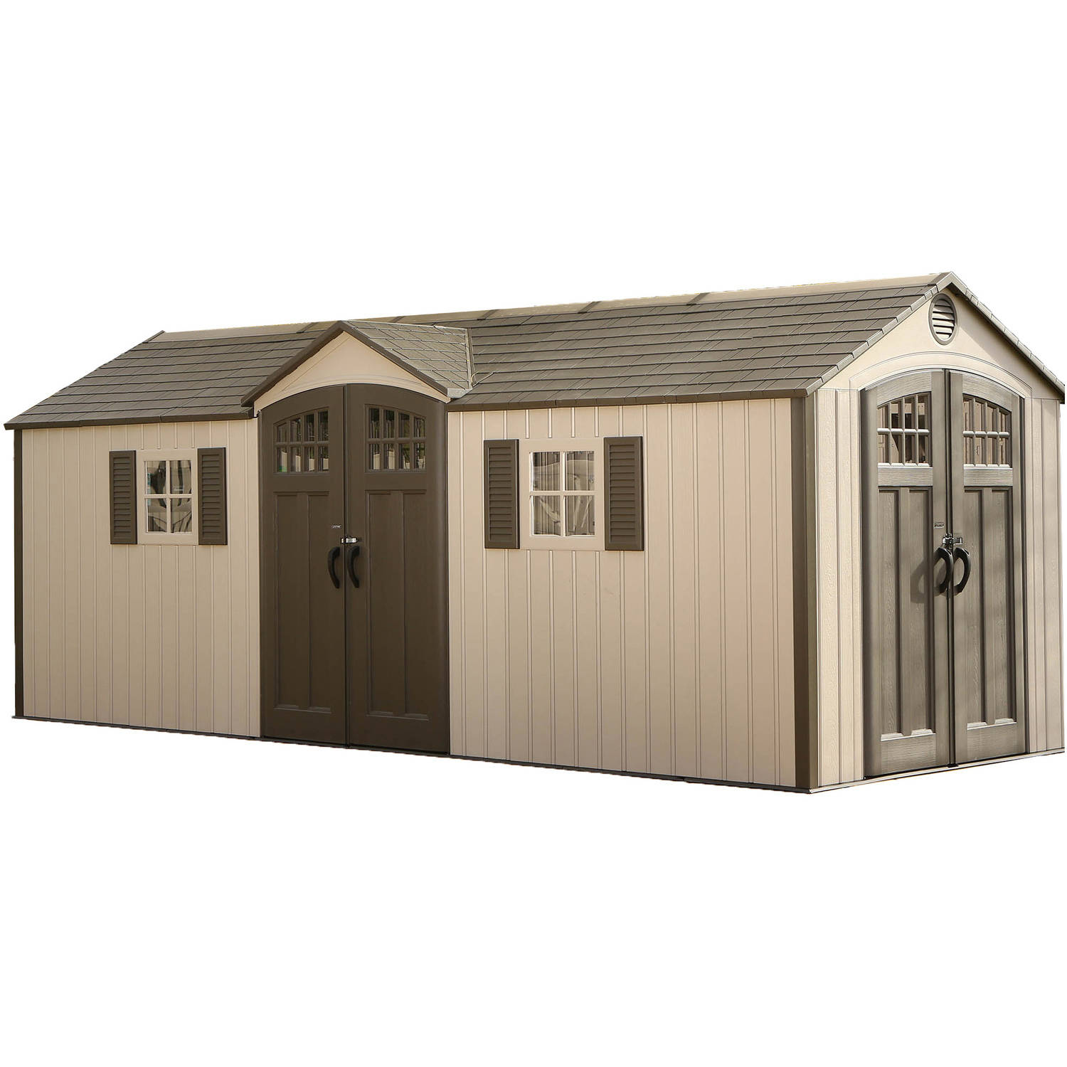 Outdoor Storage Shed 20' x 8' - Desert Sand - Lifetime