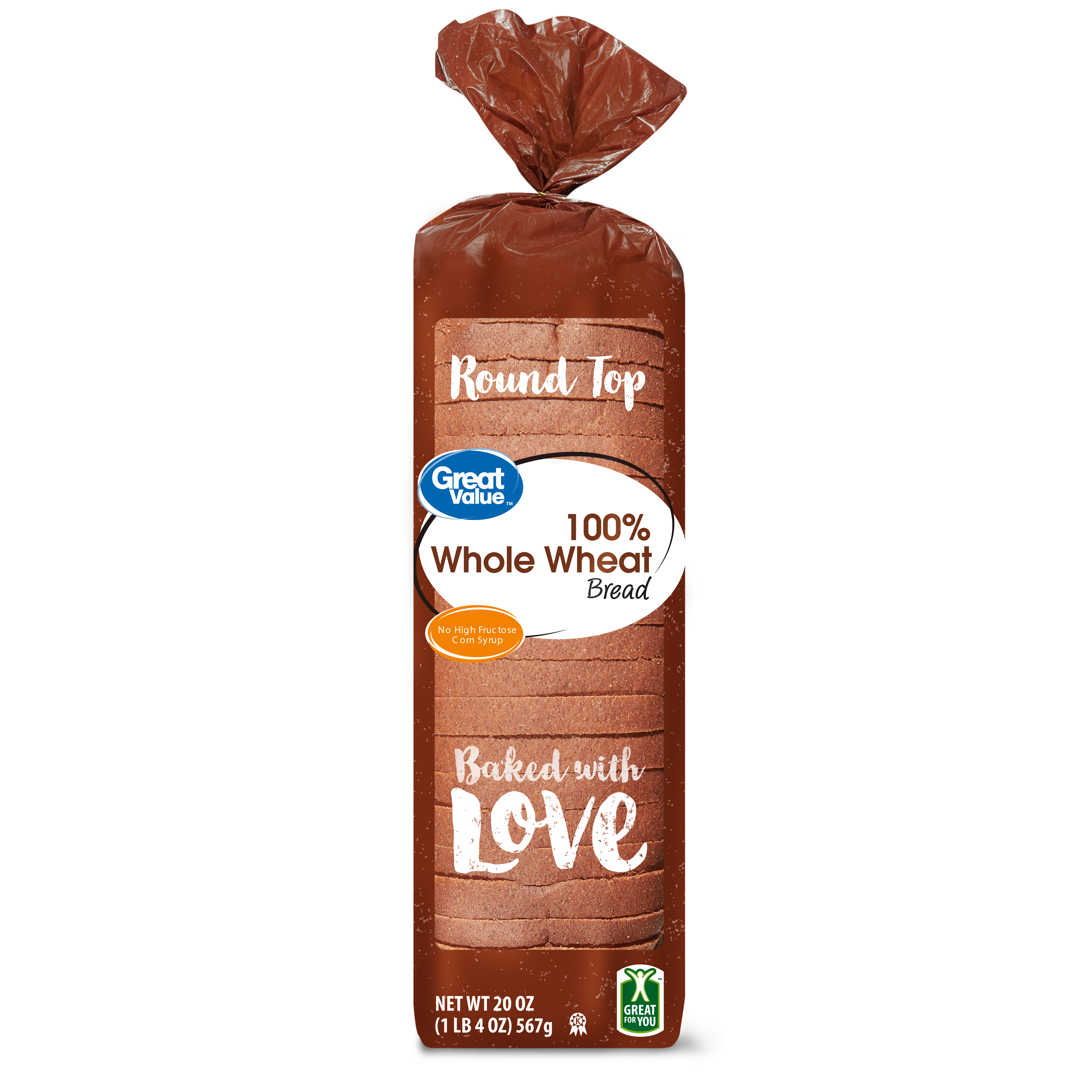 Great Value 100% Whole Wheat Bread, Round Top, 20 oz