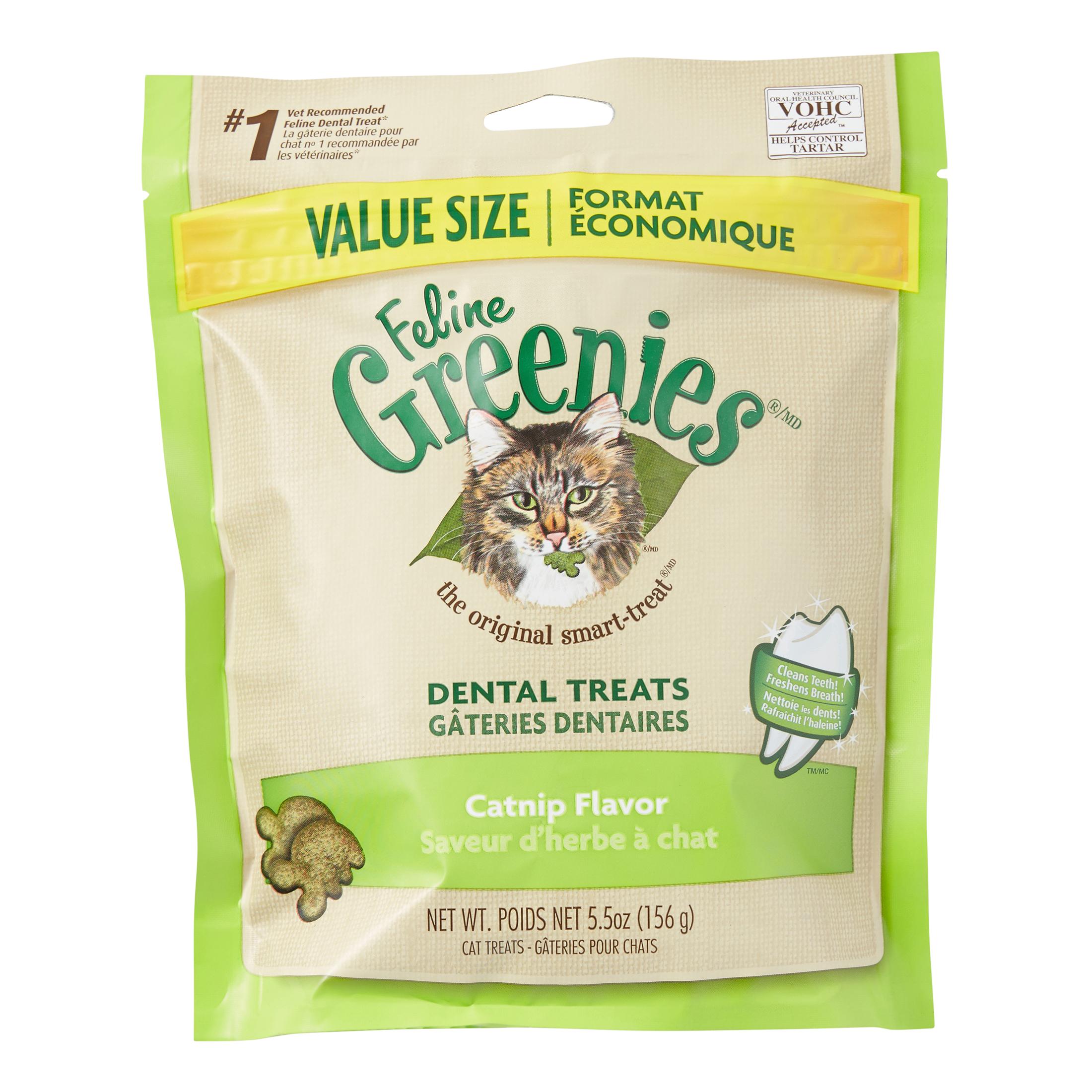 FELINE GREENIES Dental Treats for Cats Catnip Flavor 5.5 oz. by Whole Earth Farms