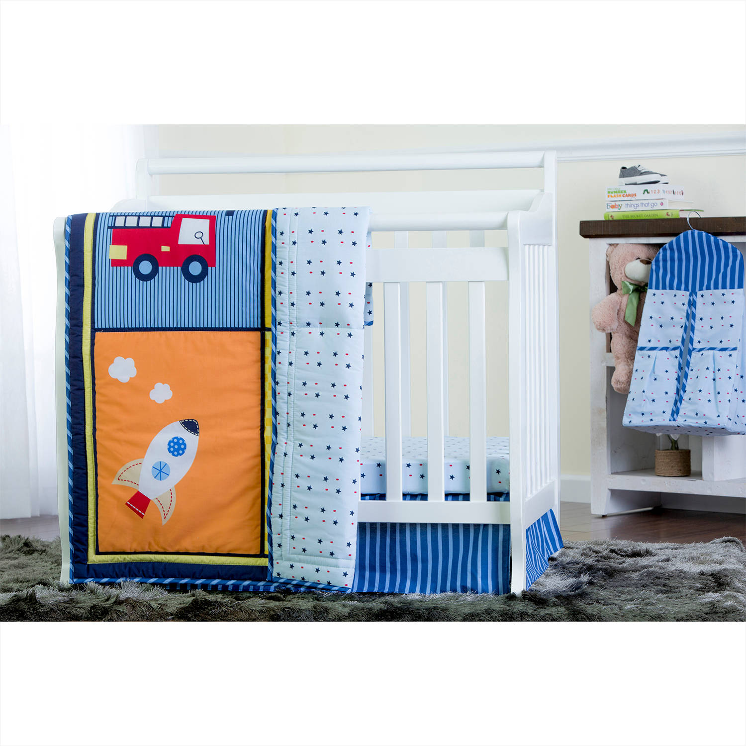 Dream On Me On The Go 4-Piece Reversible Portable Crib Bedding Set