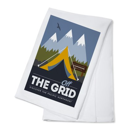 Discover the Pacific Northwest - Off the Grid (Tent) - Discover the Park - Vector Style - Lantern Press Artwork (100% Cotton Kitchen