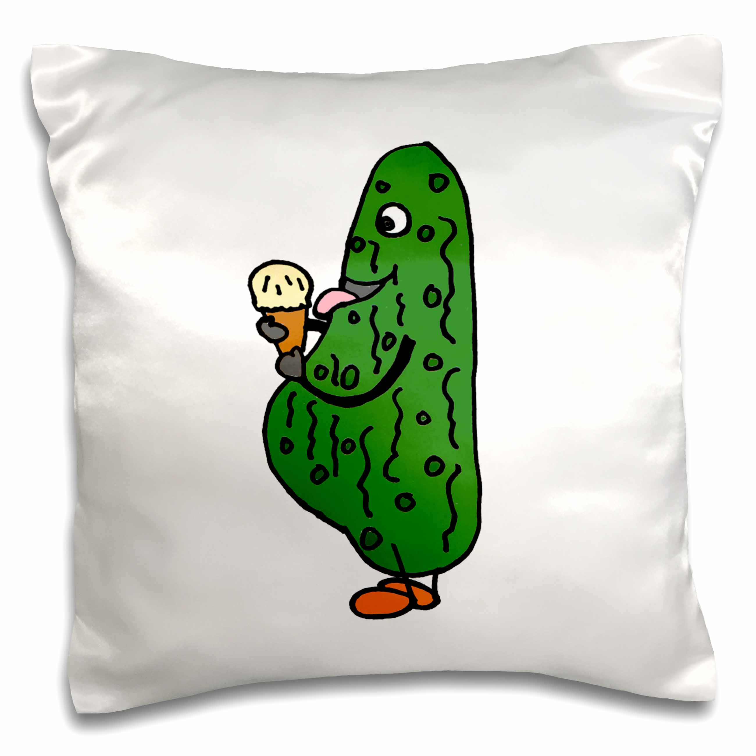 3dRose Funny Pregnant Pickle Eating Ice Cream Cone, Pillow Case, 16 by 16-inch