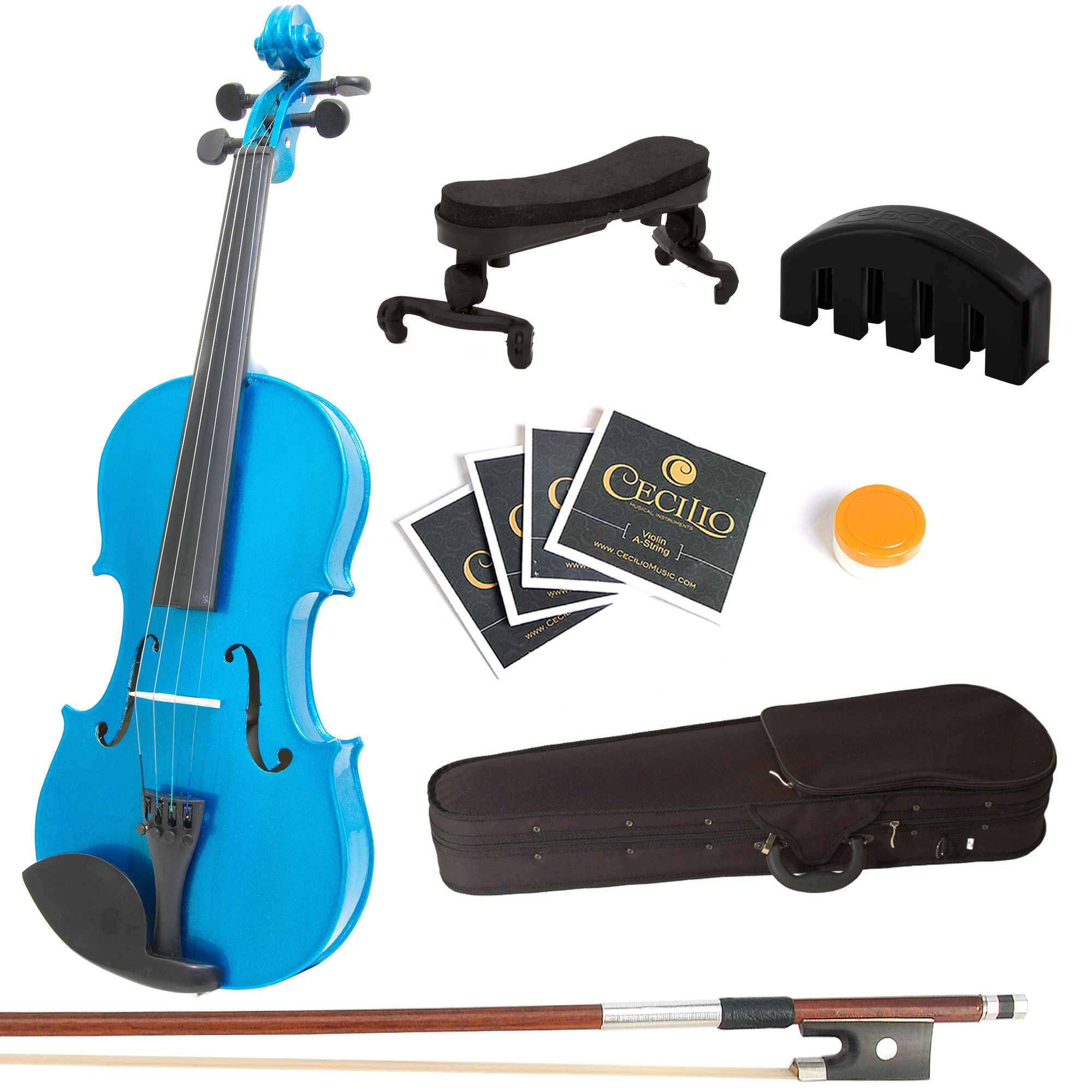Mendini by Cecilio Full Size 4 4 MV-Blue Solid Wood Violin w  Shoulder Rest, Extra... by Cecilio Musical Instruments