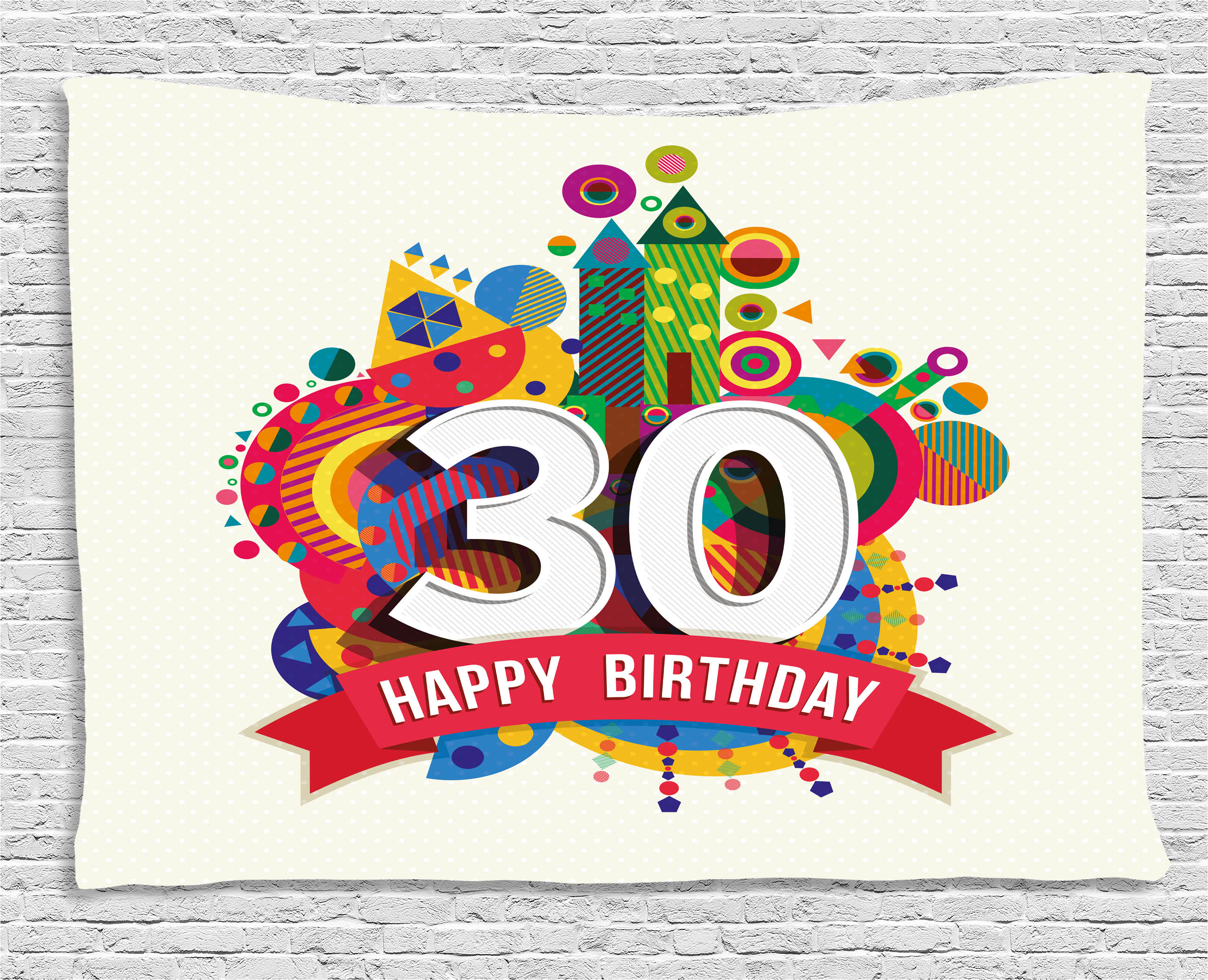 30th Birthday Decorations Tapestry Colorful Geometric Design Funky Vibrant Shapes Cute Cheerful Wall Hanging For Bedroom Living Room Dorm Decor
