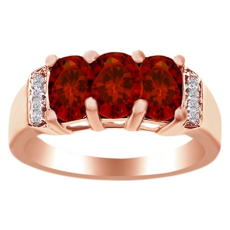 1.84 Ct Cushion Cut Simulated Garnet Three Stone Band Ring in 14k Rose Gold Over Sterling SilverRing Size - 14