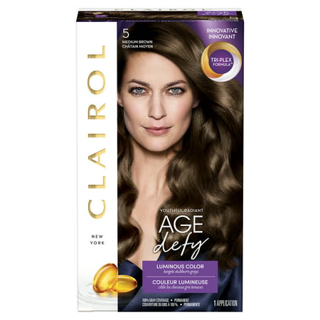 Clairol Age Defy Permanent Hair Color, Medium Brown, 5