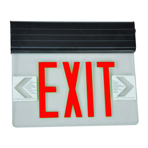 Surface Mount Edge Lit LED Exit Signs Red on Clear Panel Black Housing
