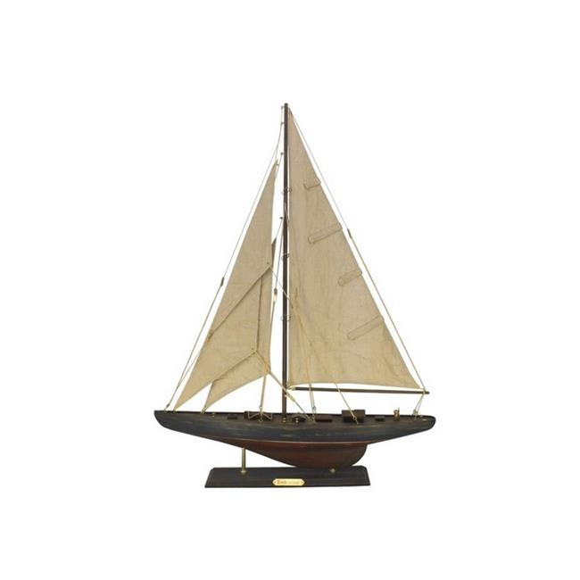 Handcrafted Decor R-Endeavour-30 Wooden Rustic Endeavour Limited Model Sailboat Decoration, 27 in. by Handcrafted Decor