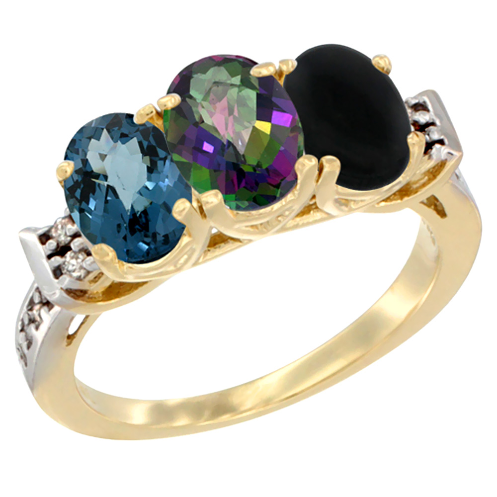10K Yellow Gold Natural London Blue Topaz, Mystic Topaz & Black Onyx Ring 3-Stone Oval 7x5 mm Diamond Accent, sizes 5 10 by WorldJewels