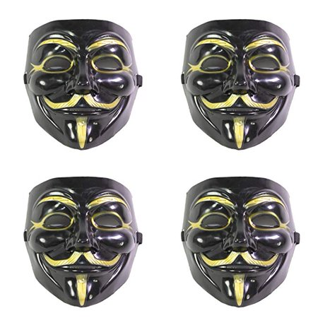 Set of 4 Black V for Vendetta Guy Fawkes Anonymous Costume Cosplay Masks EHD
