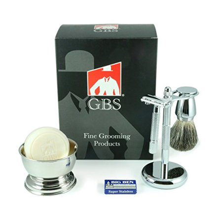 5 Piece Men's Shaving Set -Comes in Gift Box- De Razor, Badger Brush, Chrome Bowl, GBS Soap and
