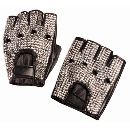 Rhinestone Biker Gloves Halloween Costume Accessory