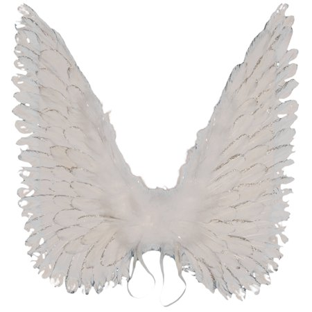 Loftus Large Costume Glitter Feather Angel Wings, White, One Size
