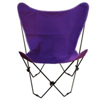 "35"" Retro Style Outdoor Patio Butterfly Chair with Purple Cotton Duck Fabric Cover"