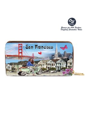 Womens Wallet Discover San Francisco Single Zip Around Coin Wallet Handbag Cities Design Medium Size