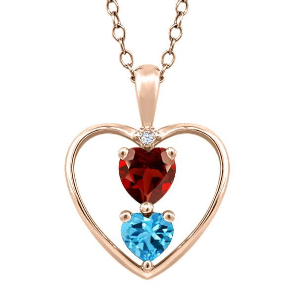 0.90 Ct Heart Shape Red Garnet Swiss Blue Topaz Gold Plated Silver Pendant