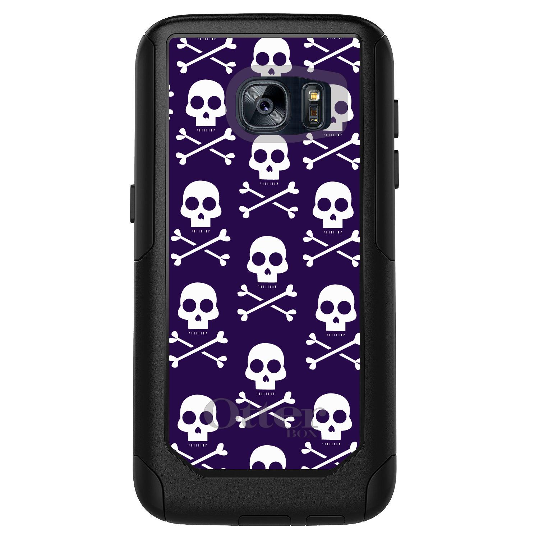 DistinctInk™ Custom Black OtterBox Commuter Series Case for Samsung Galaxy S7 - Purple White Skulls Pattern