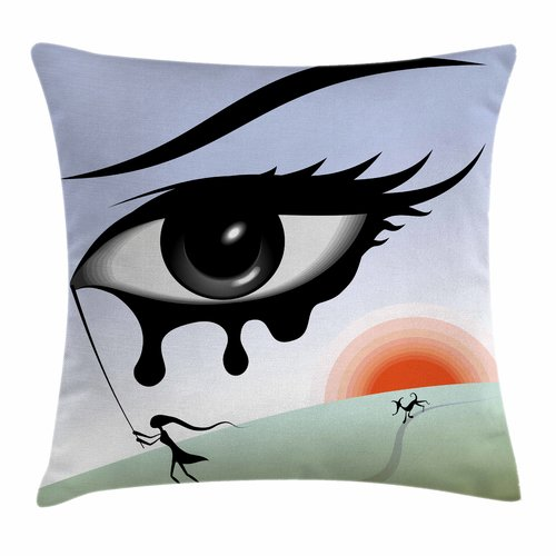 Ambesonne Eye Surreal Avant Garde Art Square Pillow Cover