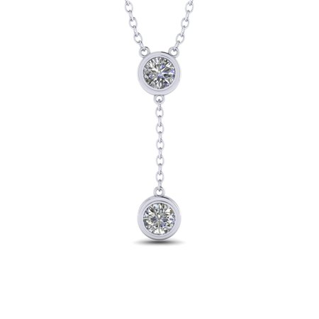 Two Stone 1 Carat Round Cut Genuine Moissanite Drop Pendant Necklace in 18k White Gold Over Silver