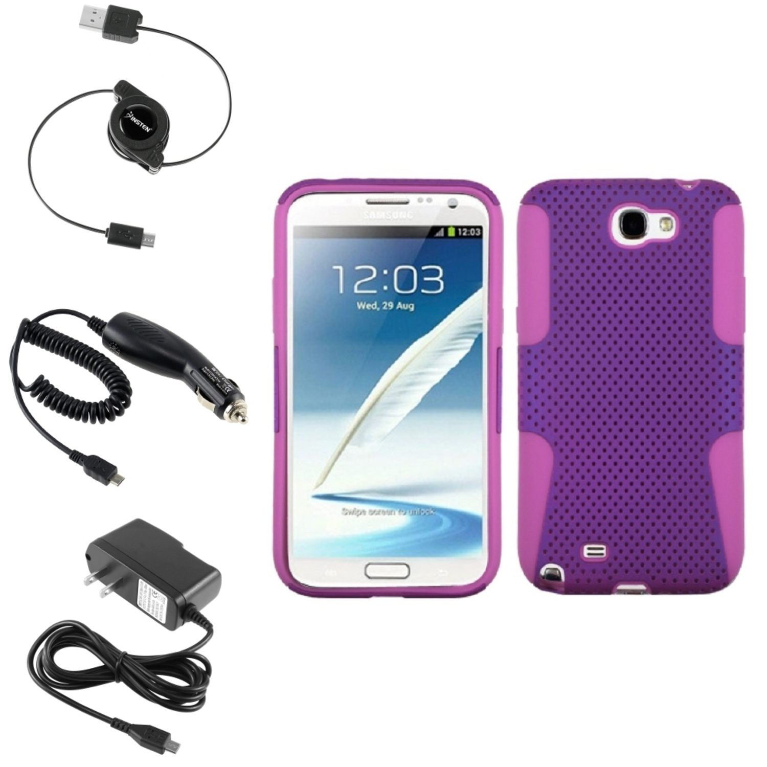 Insten Pink/Purple Hybrid Case Car Home Charger Cable For Samsung Galaxy Note 2 II