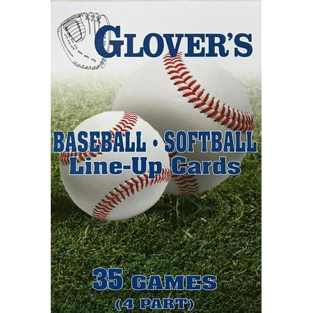 Baseballsoftball Line Up Cards Large 55x 85 4 Part Super Size 5½ X 8½ By Glovers Scorebooks