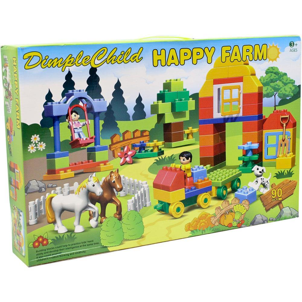 Dimple 90 Piece Farm Themed Interconnecting Building Bricks Set with Horses, Figurines,... by Supplier Generic