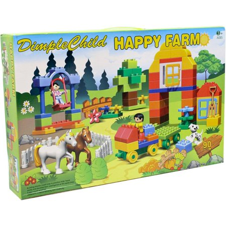 Dimple 90 Piece Farm Themed Interconnecting Building Bricks Set with Horses, Figurines, Tractors, a Dog and other Assorted Shapes and Pieces by Dimple