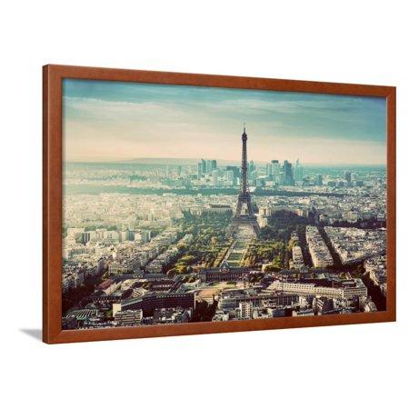 Paris, France Vintage Skyline, Panorama. View on Eiffel Tower, Champ De Mars and La Defense Framed Print Wall Art By Michal Bednarek - Halloween Tower Defense 5