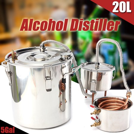 - 5Gal 20L Boiler Distiller Distilled Alcohol Beer Wine Water Moonshine Still Stainless Steel Copper Spirits Equipment For Home Brew Distilling Making Healthy+Thumper Keg