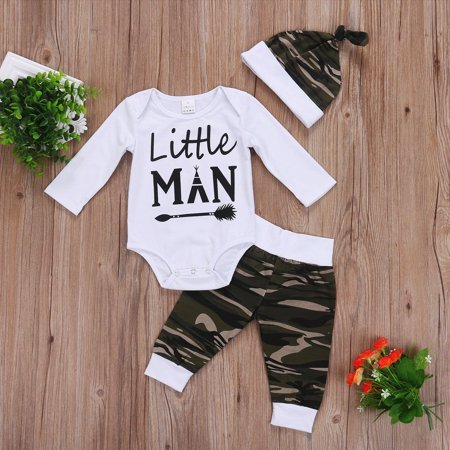 3Pcs Newborn Baby Boys Camouflage Tops Romper Pants Hat Outfits Set Clothes ()
